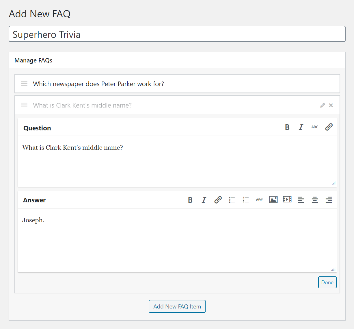 Flexible FAQs Post Editor